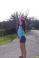 Ginger Cheerleader Teen Poses By The Road Almost Topless - Picture 12