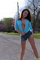 Ginger Cheerleader Teen Poses By The Road Almost Topless - Picture 5