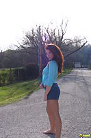 Ginger Cheerleader Teen Poses By The Road Almost Topless - Picture 6