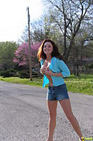 Ginger Cheerleader Teen Poses By The Road Almost Topless - Picture 8